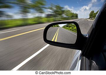 drivande, bil, fokusera, genom, väg, spegel, tom