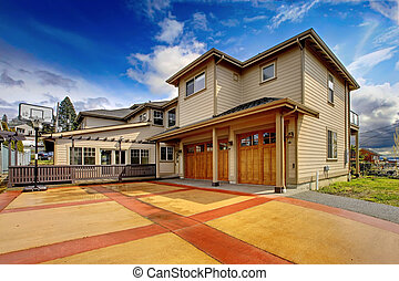 driveway., lyxvara, apelsin, färsk, yttre, stort, röd, hem