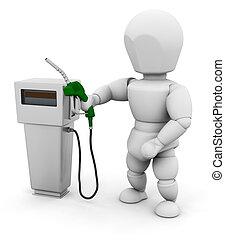drivmedel, person, pump