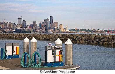 drivmedel, stad horisont, pumpar, flotta