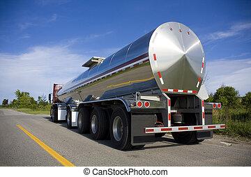drivmedel, väg, tankfartyg, eller, flytande