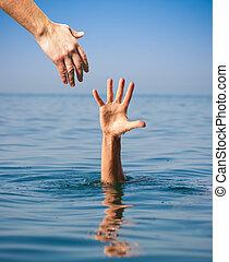 drunkning, ge sig, hand, portion, hav, man