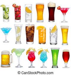 drycken, cocktailer, olik, sätta, öl