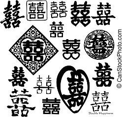 dubbel, kinesisk, lycka