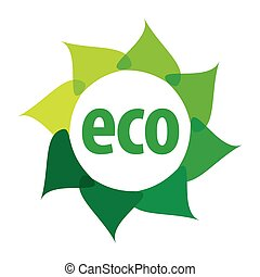 eco, logo, form, blomma, vektor