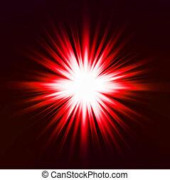 effect., lätt, vektor, röd, signalljus