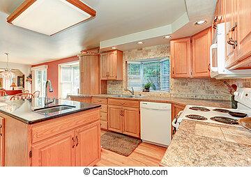 ek, cabinetry, lysande, ved, inre, kök