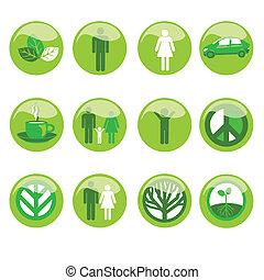 ekologisk, sätta, ikon