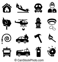 eld, nät, sätta, stridande, ikon