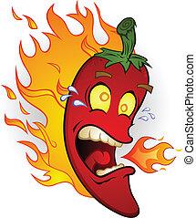 eld, peppar, chili, varm, tecknad film
