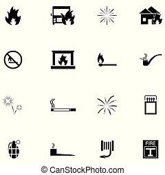 eld, sätta, ikon