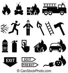eld, sätta, släkt, ikon