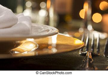 elegant, middag sätta