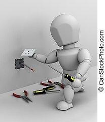 elektriker, passande, elektrisk hålighet