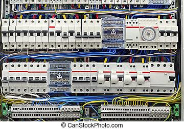 elektrisk, sammanslutar, närbild, panel