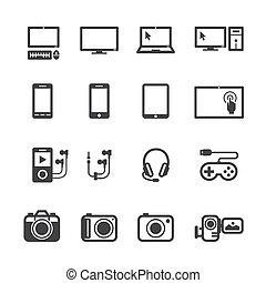 elektronisk, enheter, ikonen