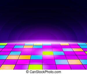 elektronisk, framtidstrogen, blå, golv, bakgrund., retro, purpur, dans, neon, tegelpanna, disko, gul, vintage., lätt