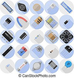 elektronisk, komponenten, ikonen