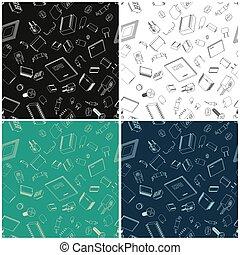 elektronisk, komponenten, illustrationer, seamless