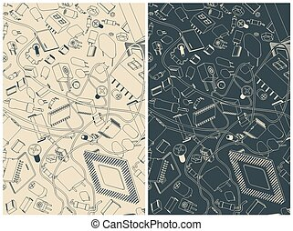 elektronisk, komponenten, illustrationer