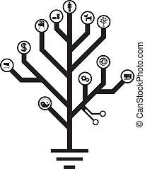elektronisk, liv, träd