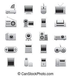 elektronisk, silver, ikonen