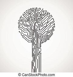 elektronisk, träd, skapande