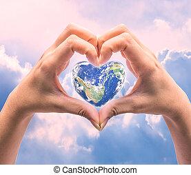element, form, avbild, mänsklig, över, värld, hälsa, hjärta, background:, naturlig, detta, dag, kvinnor, möblera, nasa, räcker, suddig
