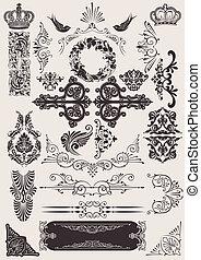 elementara, calligraphic, dekoration, vektor, design, sida, set: