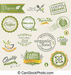 elementara, mat, organisk, etiketter