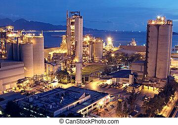 eller, industri, tung, konstruktion, industry., konkret, fabrik, växt, cement