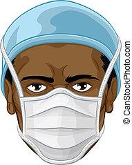 eller, skyddande, läkare, tröttsam, ansikte, ppe, sköta, maskera