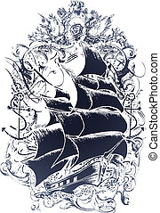 emblem, gammal, skepp