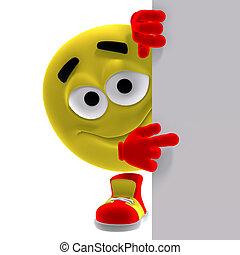 emoticon, rolig, säger, titta, här, gul, kylig