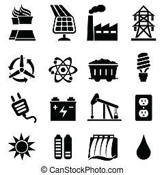 energi, sätta, ikon