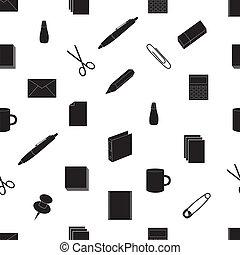 eps10, kontor, mönster, seamless, svart, ikon