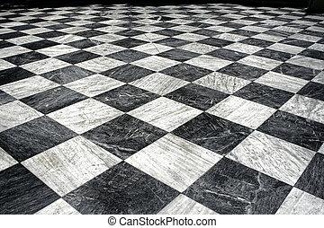 et, vit, svarta spelkula, golv