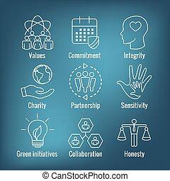 etc., fullständighet, ärlighet, ansvar, samarbete, sätta, ikon, skissera, social