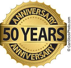 etikett, guldgul år, årsdag, 50
