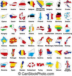 europén sjunker, karta, detaljerna, form