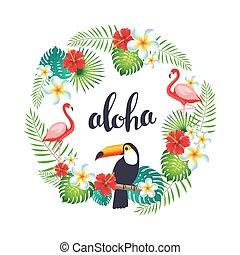 exotisk, krans, flamingo, bladen, tukaner, tropisk, flowers.