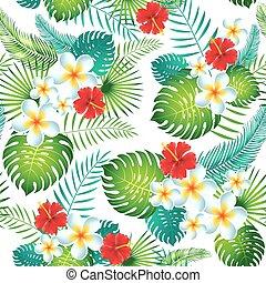 exotisk, mönster, bladen, seamless, tropisk, flowers., vektor