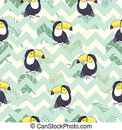 exotisk, mönster, bladen, tukaner, seamless, illustration, tropisk, vektor, pineapples.
