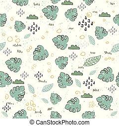exotisk, mönster, leaves., seamless