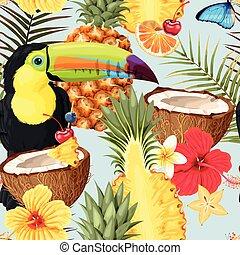 exotisk, mönster, tukaner, frukter