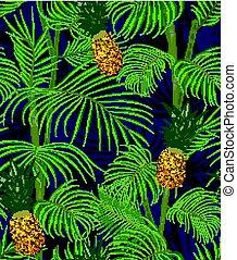 exotisk, mörk, mönster, bladen, seamless, tropisk, bakgrund., palm, ananas