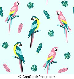 exotisk, papegoja, mönster, seamless, leaves., tropisk