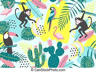 exotisk, tropisk, apa, mönster, papegoja, seamless, kaktuser, flamingor, leaves., tukan