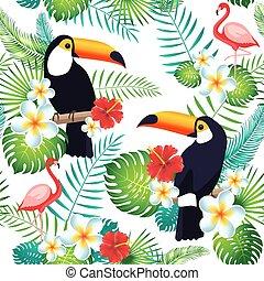 exotisk, tropisk, mönster, bladen, tukaner, seamless, flamingor, flowers.