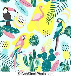 exotisk, tropisk, mönster, papegoja, seamless, kaktuser, flamingor, leaves., tukan